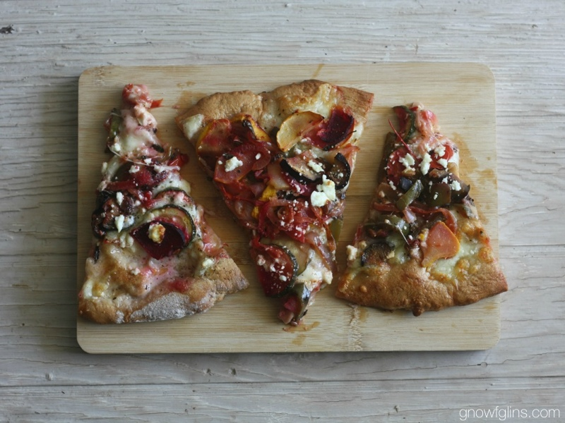 "Garden Harvest Veggie Pizza | Have you ever had thoughts like, ""When will this end?"" behind your thankfulness for a bumper crop? Canning, freezing, drying, preserving... these things can get tiring after a while! And that's where a quick pizza dinner comes in. 
