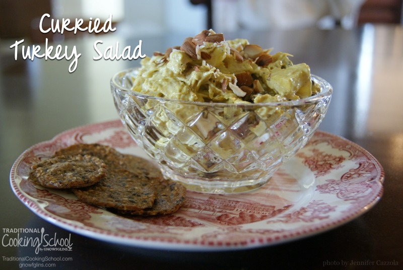 One of my biggest Thanksgiving dinner challenges is finding something to do with all of the leftovers. A good turkey salad is versatile, keeps well, and can be served for lunch, snack, or dinner. This salad's got a twist -- a curried mayonnaise base. | TraditionalCookingSchool.com