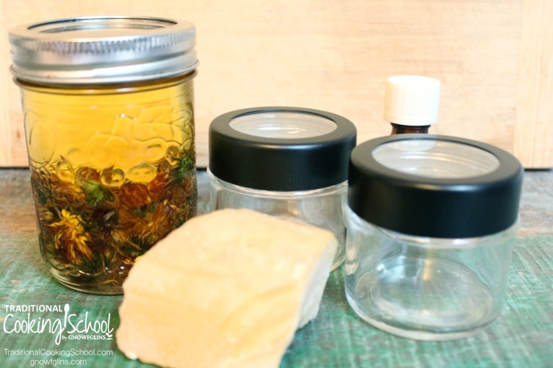 Calendula is a wonderful healing herb -- excellent for all skin ailments, quickly healing rashes and wounds, and gentle for the whole family. Make up a batch of this salve in 15 minutes and have a go-to remedy for all rashes, cuts, scrapes, bruises, burns, bites, blisters, and dry skin. Pour it into a pretty jar, top it with a label and ribbon, and it makes a thoughtful gift! | TraditionalCookingSchool.com