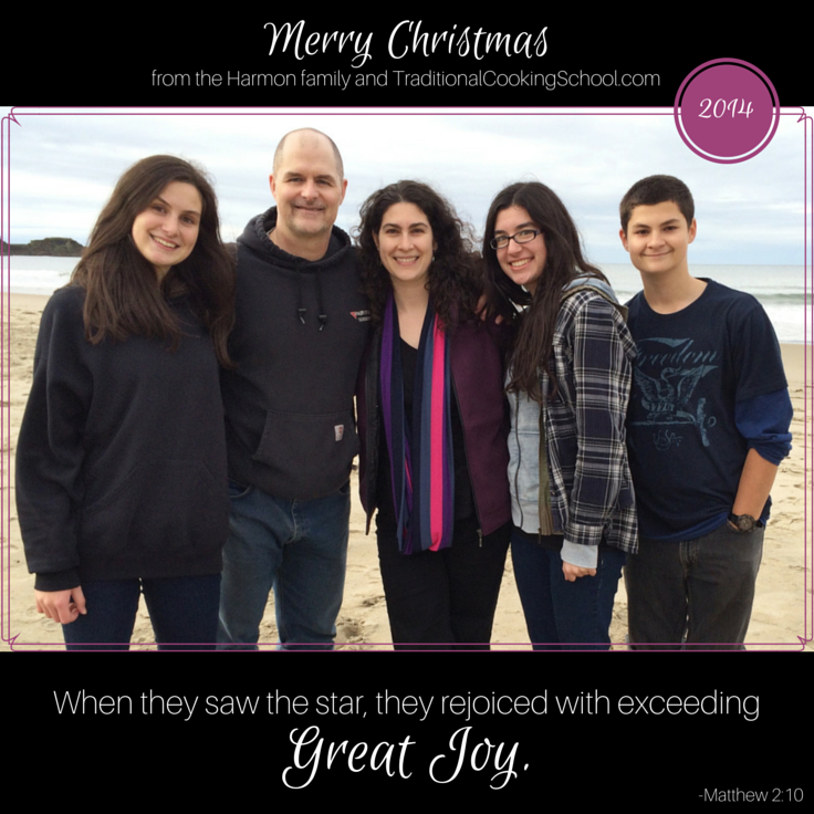 Merry Christmas! {plus video of YOU}   Merry Christmas and God bless you! We are grateful and thankful for YOU. For some weeks now, I've been collecting pictures of what Traditional Cooking School families around the world have been up to. And, tada! Here YOU are in this short video, growing and learning and blessing and being blessed. Thank you for sharing your lives with us. May your 2015 be as joyous as 2014, and rich with God's blessings.   TraditionalCookingSchool.com