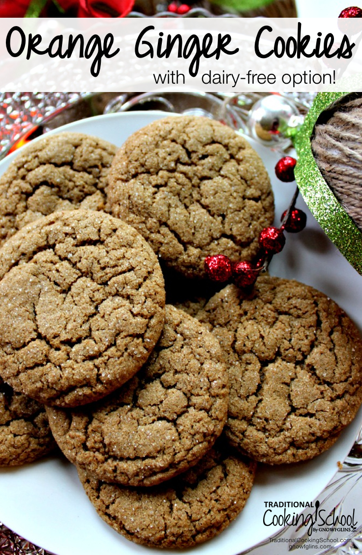 Orange Ginger Cookies {with dairy-free option!}   Citrus and ginger blend together so nicely -- especially when paired with a little bit of molasses. And it ain't Christmas until the molasses comes out to play! You get all three in these soft, melt-in-your-mouth cookies.   TraditionalCookingSchool.com