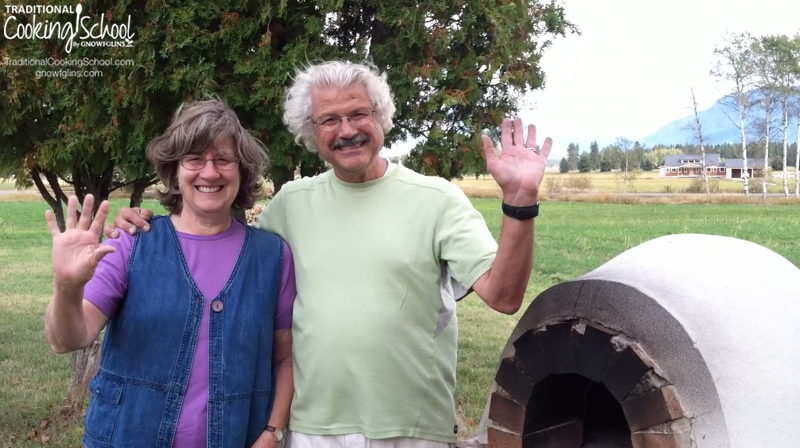 I'm thrilled to introduce you to my parents, Ibrahim and Martha. Not only do they live in beautiful Montana, they've got this absolutely amazing outdoor pizza oven. I begged just a little bit, and they said yes to filming one of their pizza baking days. Be sure to watch ALL the way to the end... for a laugh! Plus photos from the videos and more info on creating a pizza oven. | TraditionalCookingSchool.com