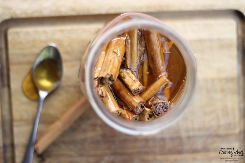 How To Make Cinnamon-Infused Honey {2 Ways} | Did you ever eat red hots as a kid? I loved the spicy cinnamon flavor. I have found a simple treat that tastes just the same but is about 1,000 times better for you. Learn to make cinnamon-infused honey and use it in cooking, natural medicine, or straight off the spoon! | TraditionalCookingSchool.com