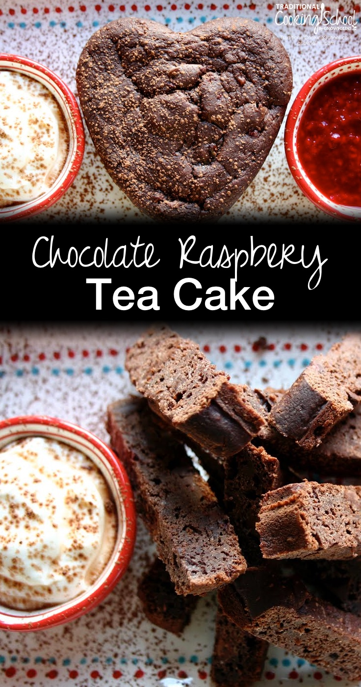 Chocolate Raspberry Tea Cake | Treat yourself or surprise your honey (or little honey drops) with this delicious and nourishing Sourdough Chocolate Raspberry Teacake. Sourdough, chocolate, AND raspberry? All in one dessert? Delicious! | TraditionalCookingSchool.com