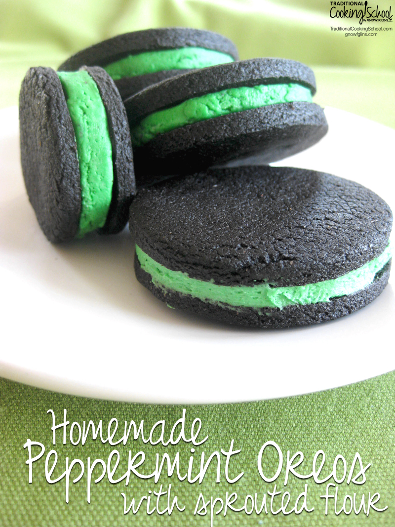 "With St. Patrick's Day just around the corner, it's fun to see how new recipes can be ""green-ified"". Like my standard homemade Oreos. I turned the filling (natural) green, which made me think of grasshopper mint ice cream, so I added a bit of peppermint to the mix as well! 