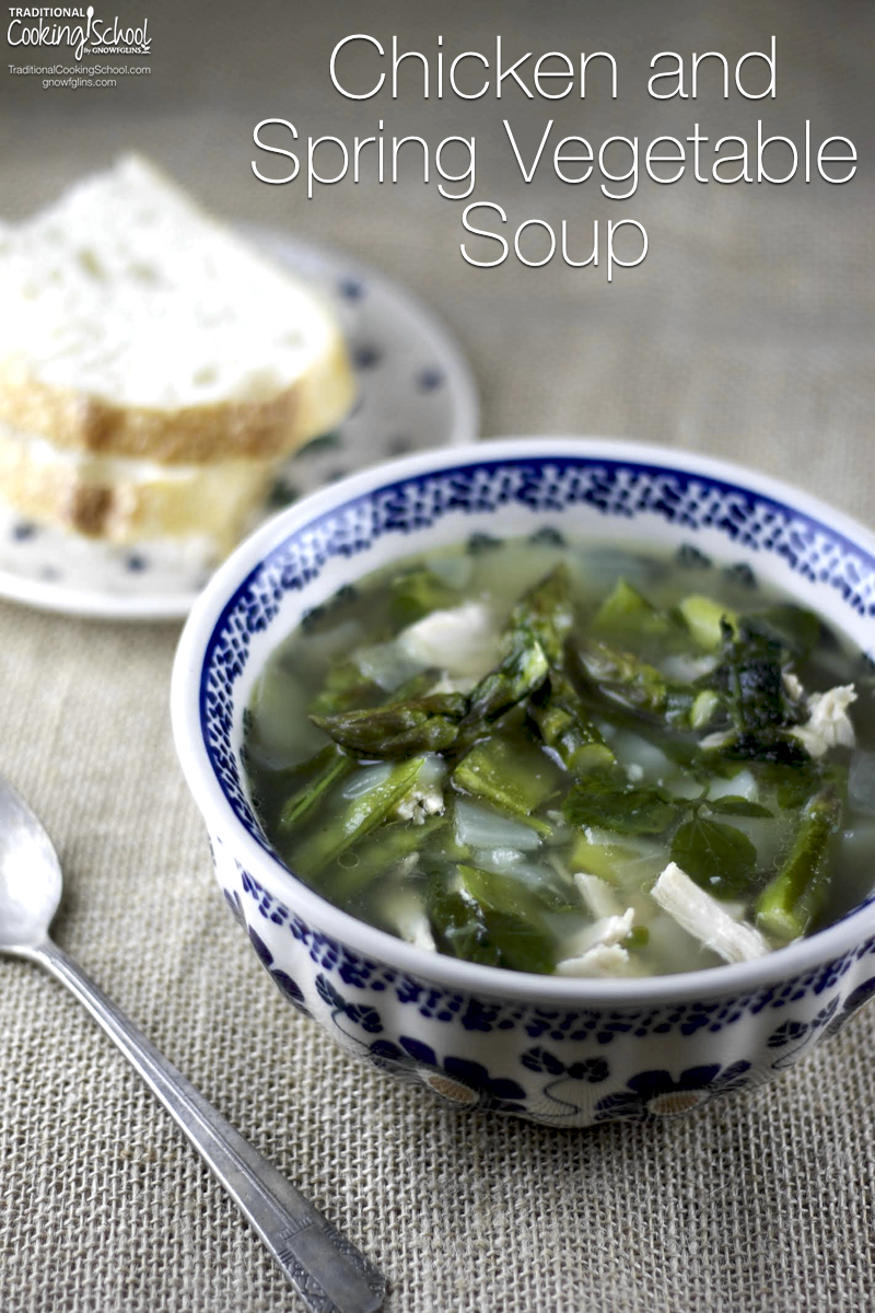 Chicken and Spring Vegetable Soup | Amazing produce like green onions, asparagus, and snow peas are ready to enjoy in the spring. What better way to celebrate spring than with a light soup to highlight the first produce of the season? This savory chicken and spring vegetable soup brings the flavors of spring into your kitchen... | TraditionalCookingSchool.com