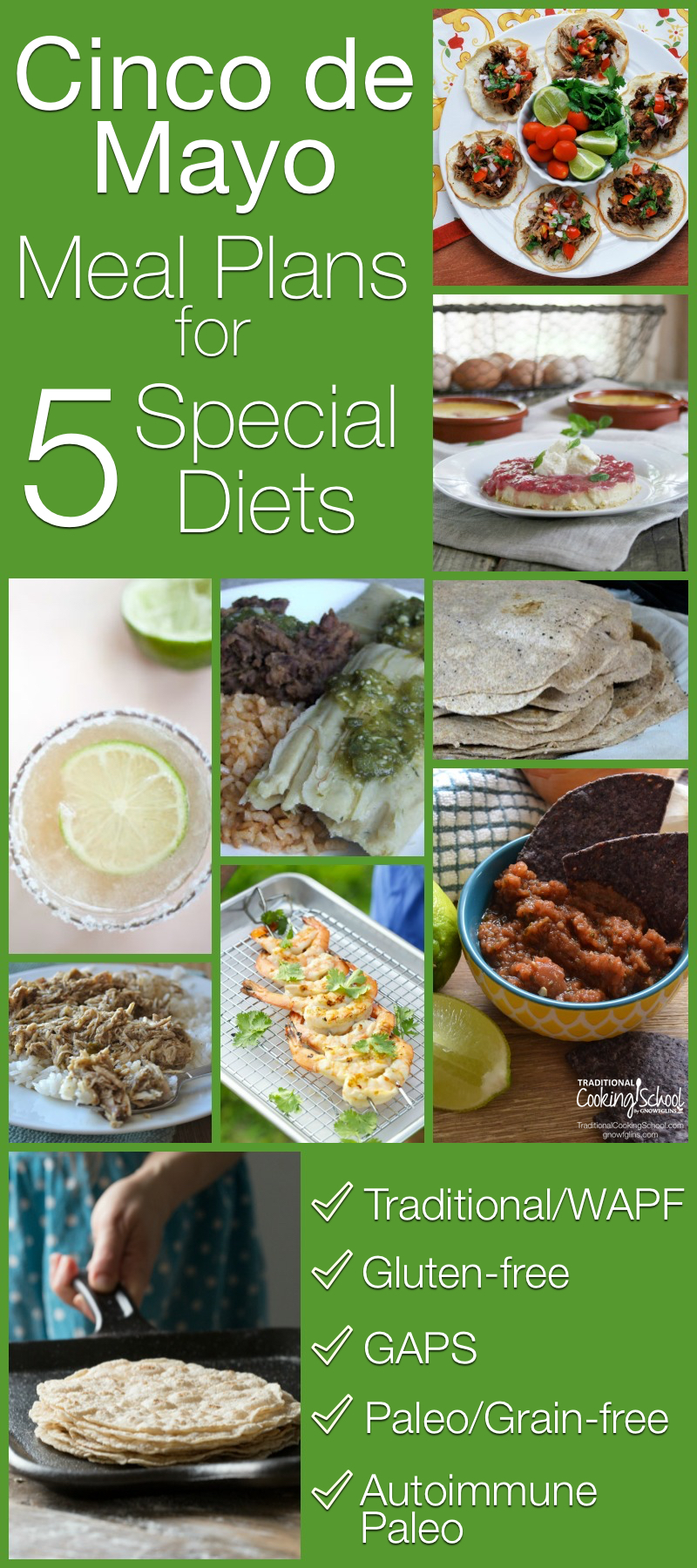 Cinco de Mayo Meal Plans for 5 Special Diets | In these Cinco de Mayo meal plans for five special diets (traditional, gluten-free, GAPS, Paleo, and Autoimmune Paleo), we've provided you with a good mix of both American and Pueblo cuisine. From appetizer all the way to dessert! | TraditionalCookingSchool.com