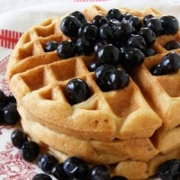 Sprouted flour coconut waffles stacked three high on a plate topped with blueberries.