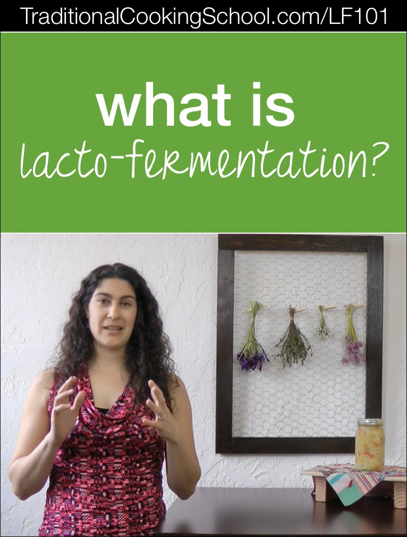 What Is Lacto-Fermentation? {Video} | Over the years, I've received lots of questions about fermenting. Are you wondering how much salt to use, what salt to use, how to store ferments, if fermenting is safe, or other fermenting questions? This video series will answer them! It begins today with... | TraditionalCookingSchool.com/LF101