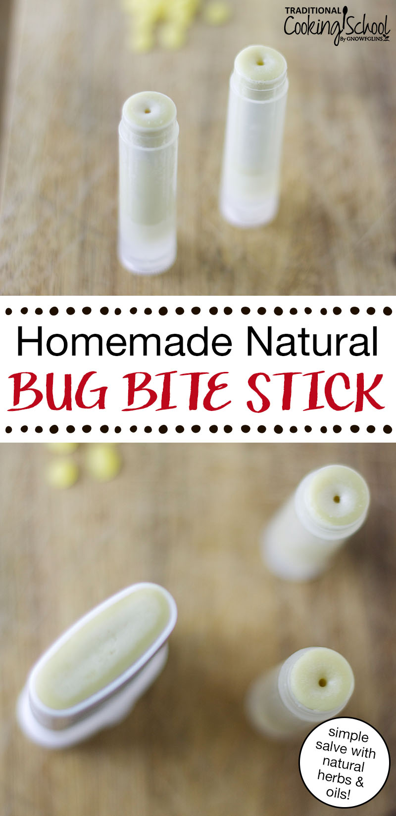 Homemade & Natural Bug Bite Stick | Summer comes hand-in-hand with bug bites. Let me introduce the 'bug bite stick' -- a chapstick tube containing a simple salve made from plantain, echinacea, and lavender. I've made this salve for a few years now, and it really works to relieve the itch! | TraditionalCookingSchool.com