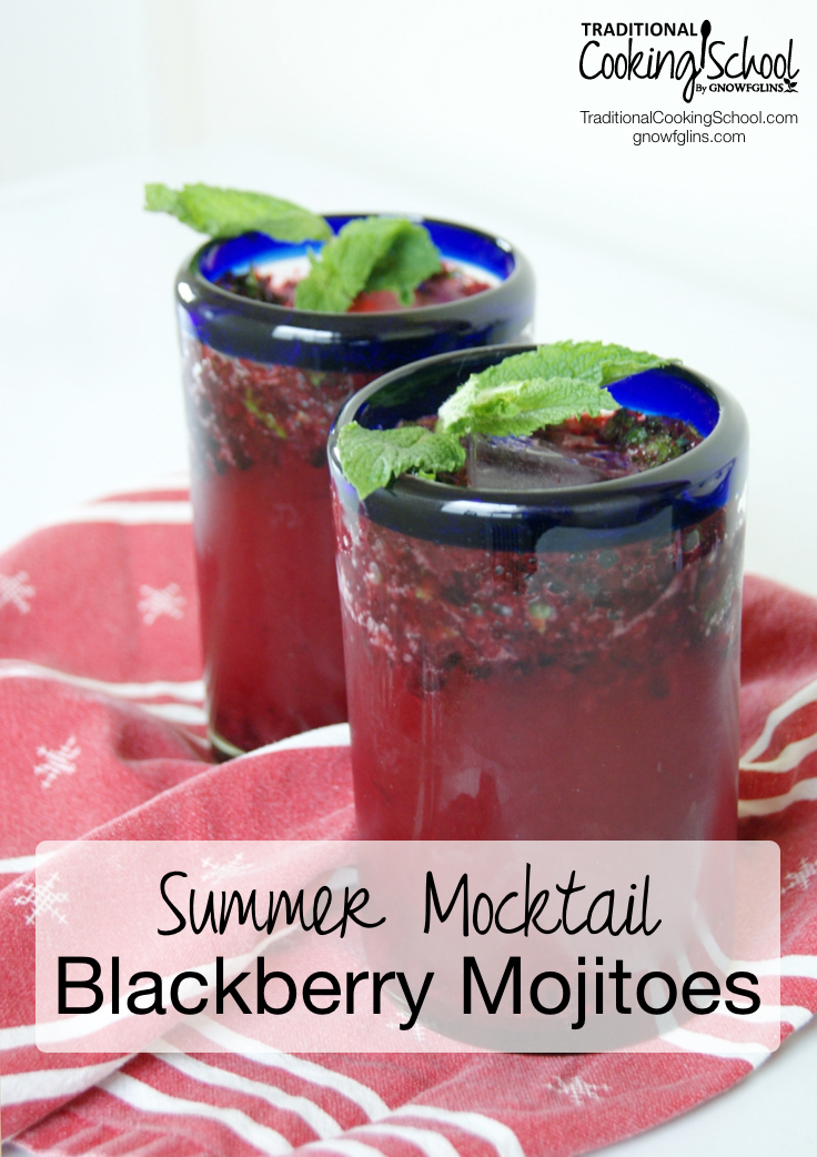 Blackberry Mojitoes {Summer Mocktail} | Recently, I created my own version of a delicious blackberry mocktail my husband and I enjoyed on a business trip. My version, however, uses fresh squeezed lime juice and honey in lieu of limeade concentrate along with fresh mint and local crushed frozen blackberries. I omit the alcohol so it's family friendly. Enjoy! | TraditionalCookingSchool.com
