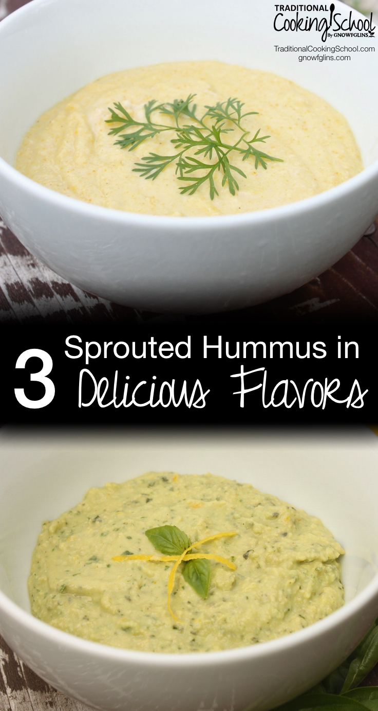Sprouted Hummus in 3 Delicious Flavors | Hummus is one of my favorite snacks -- and it makes great lunch box food, too! We love to eat it with veggies or crackers, spread on a sandwich, or even right off the spoon! I prefer to sprout my garbanzo beans to improve their digestibility. Here's our delicious, basic, creamy, sprouted hummus recipe, plus 3 of our favorite hummus flavor variations. | TraditionalCookingSchool.com
