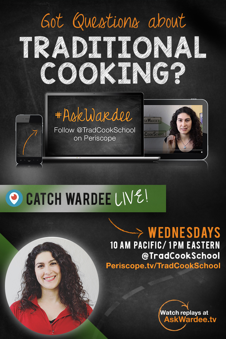 Got Questions About Traditional Cooking? #AskWardee | Got a niggling issue you just can't resolve with your sourdough starter or your sauerkraut or anything else to do with Traditional Cooking? I'm thrilled to answer your questions -- and invite you to -- The #AskWardee Show I'm hosting each Wednesday on Periscope (the live video app). Details here! | AskWardee.TV