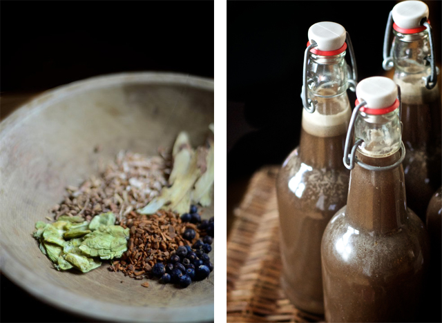 photo collage of flip top bottles of root beer and wooden bowl of spices