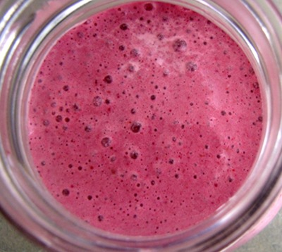 bright pink bubbly strawberry kefir smoothie