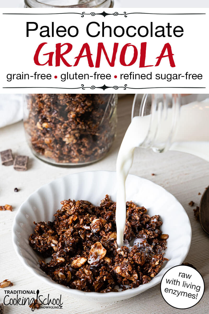 "White bowl with chocolate paleo granola and milk being poured over the top. Text overlay says, ""Paleo Chocolate Granola: Grain-Free, Gluten-Free, Refined Sugar-Free""."