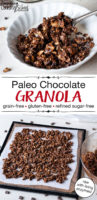 "photo collage of dehydrating granola, and white bowl filled with chocolate paleo granola and milk being poured over the top. Text overlay: ""Paleo Chocolate Granola: grain-free, gluten-free, refined sugar-free (raw with living enzymes!)"""