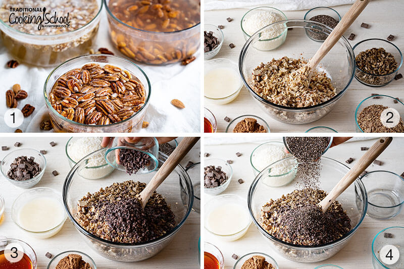 Step by step, 4-image collage of how to make paleo granola. 1. Soaking the nuts. 2, 3 and 4 mixing the dry ingredients into a large glass bowl.
