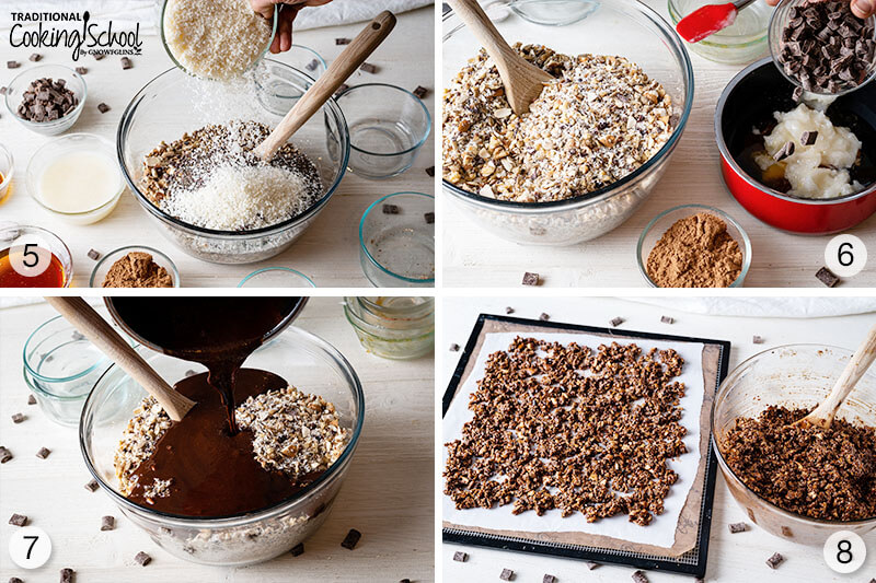 4-image collage of steps 5-8 of making paleo granola. 5. Mix in coconut. 6. Mix together wet chocolate sauce ingredients. 7. Stir in melted chocolate into dry ingredients. 8. Spread onto dehydrator tray.