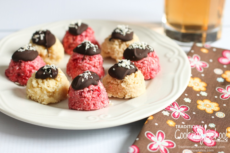 Chocolate-Covered Raspberry No-Bake Cookie Bites | No bake? Check. So easy a kid could do it? Check. Healthy, real food ingredients? Check. Allergy-friendly? Check. Only one appliance? Check. Just a couple dirty dishes? Check. Delicious? That, too! I've been so excited to bring you this recipe! | TraditionalCookingSchool.com