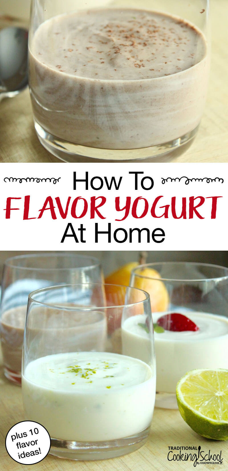 How To Flavor Yogurt At Home + 10 Flavor Ideas! Have you ever looked at the ingredients on a tub of flavored yogurt? Sugar, fructose, corn syrup, flavorings, colorings... A bowl of ice cream often contains less sugar than a similar serving of flavored yogurt! The good news? It's easy to make homemade, delicious and healthy flavored yogurt yourself!Here are 10 of our favorite flavors to get you started. #yogurt #homemade #recipes #breakfast #benefits #instantpot