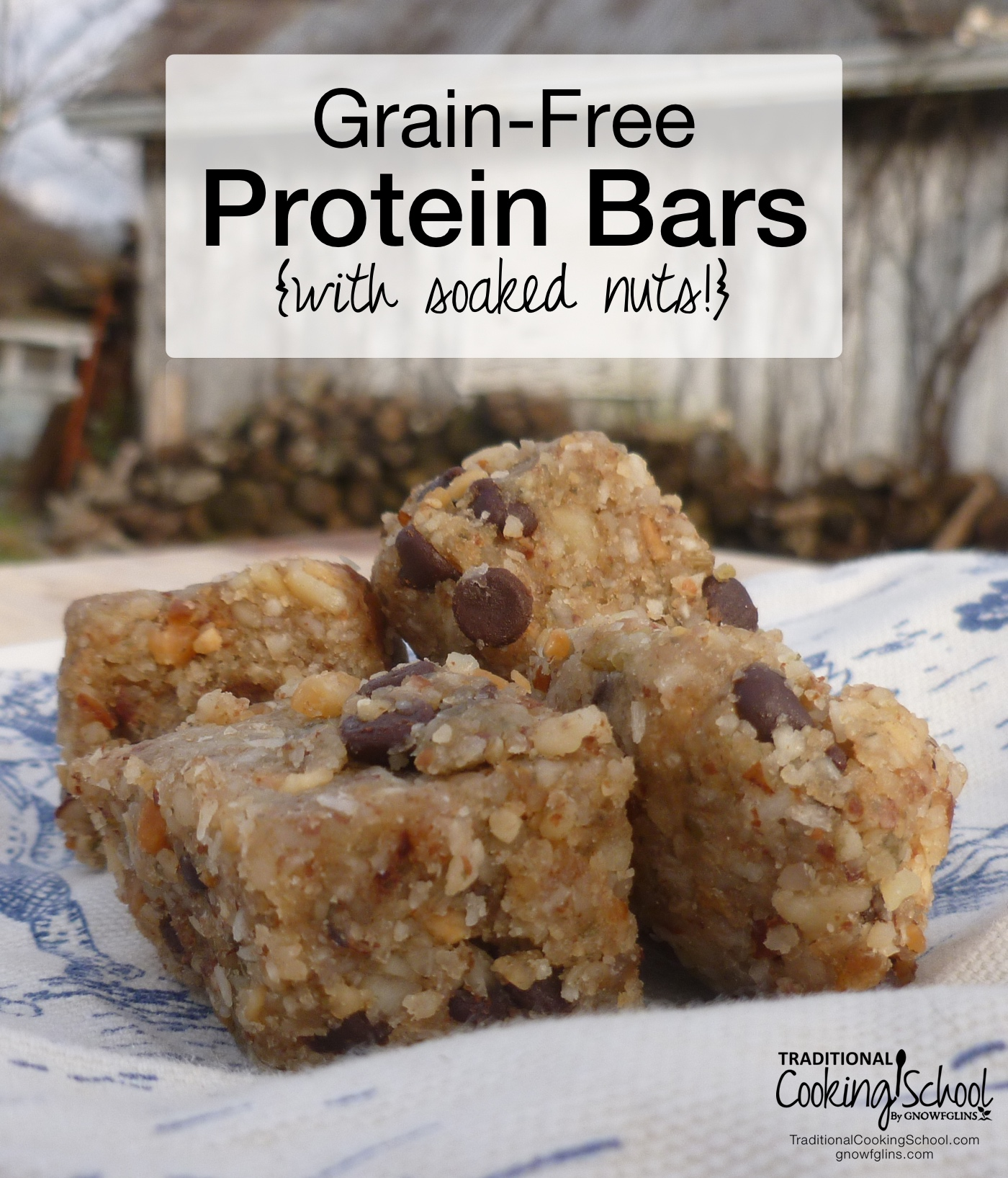 Grain-Free Protein Bars {with soaked nuts!} | About a month ago I had one of those ugggh moments. A good friend of mine had excitedly shared a new idea for on-the-go protein bars -- something low in sugar, high in protein, and satisfyingly kid-friendly. Yet, I snubbed her idea, passing it off as having too much sugar. The next week, when she visited again to pick up her milk share at our home, she brought me a sample of her newly concocted protein bar. Boy, was it good! So, I ate my humble pie, asked for forgiveness, and requested to borrow her idea and share this wonderful creation with you all. | TraditionalCookingSchool.com