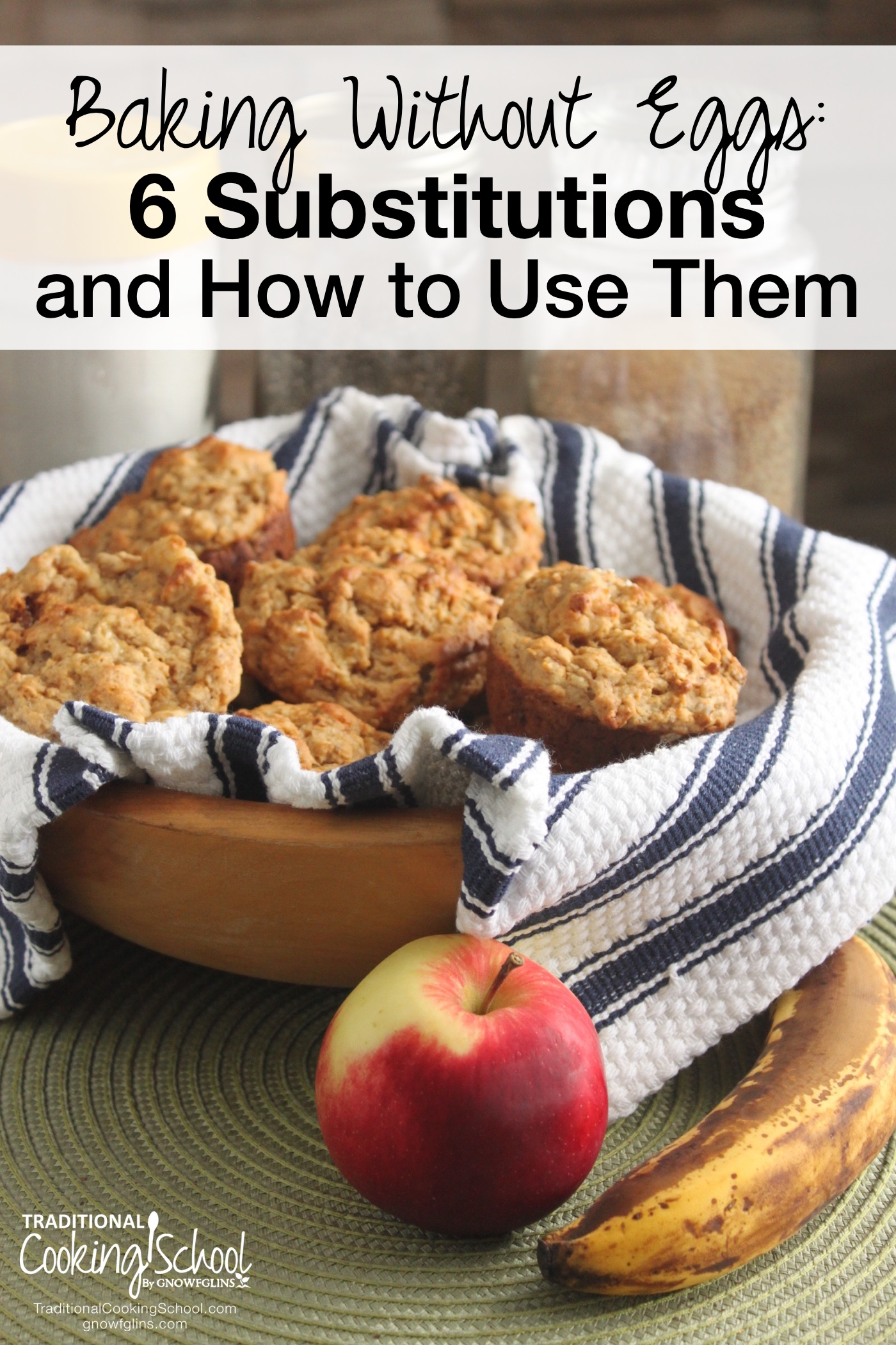 Baking Without Eggs: 6 Substitutions & How to Use Them | At a time when I spent most of my free time baking, I was told I had to give up eggs. But to bake without eggs? Was that even possible? I'm here to tell you that it's more than possible -- and easier than you might think. Although there are several egg-replacing products available, it's just as easy to create your own substitutes from ingredients you probably already have on hand. Here are 6 of my favorites, and how to use them. | TraditionalCookingSchool.com
