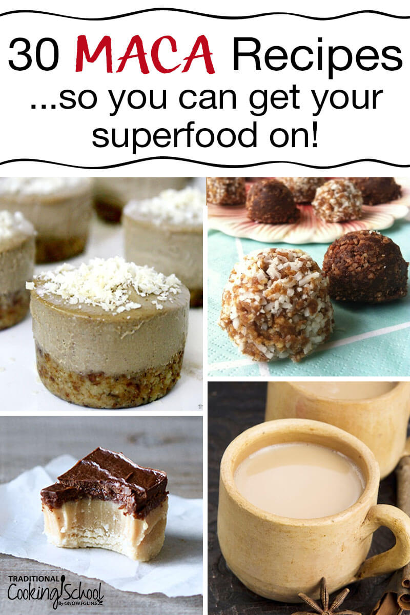 30 Maca Recipes - how to take and how to eat this amazing superfood! Maca has an amazing energizing effect and the positive effects on fertility, hormone balancing and more are really catching wind. Consider this adaptogenic superfood as a healthy addition to your lifestyle -- one that might be the missing link if you experience low energy levels, depression, compromised immunity, or hormonal imbalances. #macapowder #smoothie #organic #coffee #uses #recipe