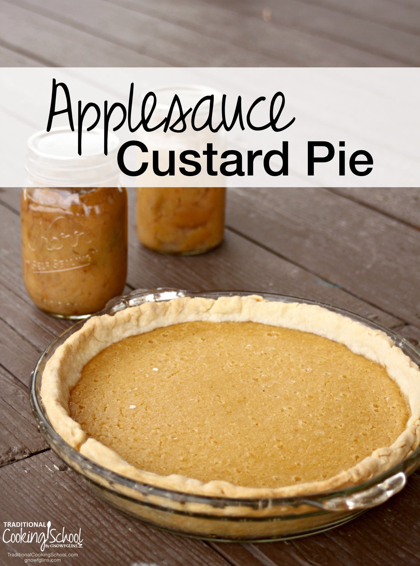 Applesauce Custard Pie | Applesauce... It's easy to can or freeze, with backyard gardeners and food preservationists filling their pantry shelves with many healthy, tasty calories for the long winter months. And while it is delicious simply as a snack right out of the jar, it has plenty of other sweet and savory uses, like Applesauce Custard Pie -- all the lovely flavor of a traditional apple pie with a smooth, custard-like filling. | TraditionalCookingSchool.com