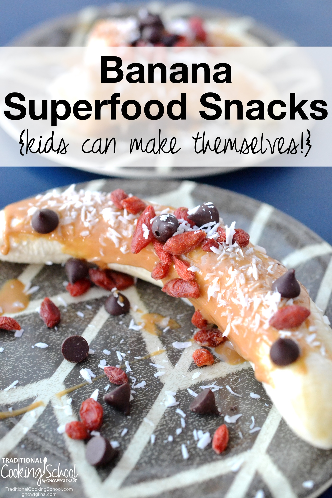 Banana Superfood Snacks {kids can make themselves!}   If going to the fridge and peeling the foil lid off a container of fruity flavored yogurt or pudding cup is as far as your kids go when it comes to making their own snacks, you NEED this recipe. These easy snacks are perfect for hungry kids with mommas who just need a break from snack time. These are so easy, your kids can make one for you while you actually sit down and enjoy snack time for once!   TraditionalCookingSchool.com