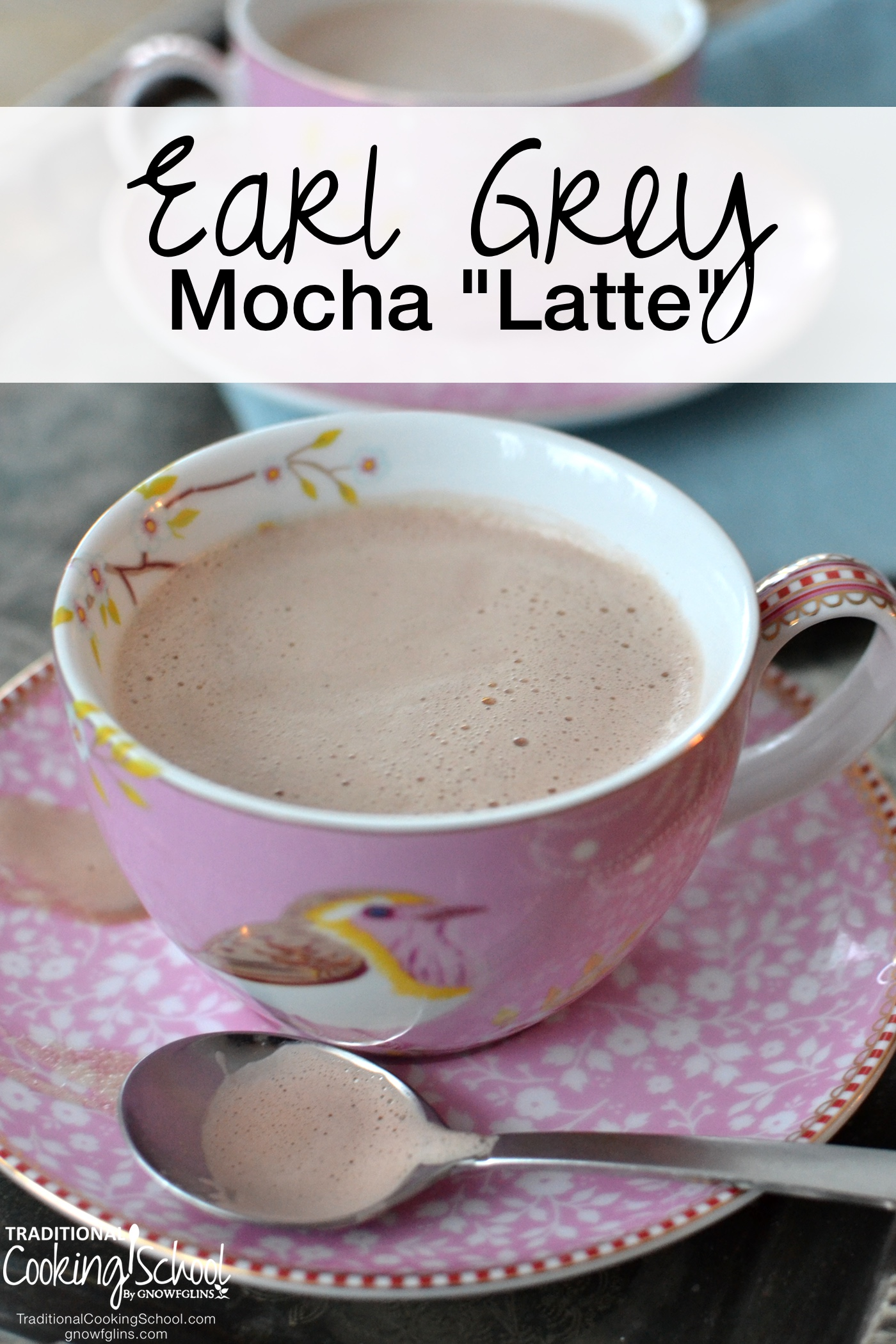"""Earl Grey Mocha """"Latte""""   I enjoy a good cup of coffee... Yet sometimes I crave a cup of tea. Not just any cup of tea, mind you, but a cup of Earl Grey -- with frothy milk, rich cocoa, raw honey, and a touch of vanilla extract. Who says a mocha latte has to be made with coffee? Let tea drinkers rejoice that they can now have their mocha sans coffee!   TraditionalCookingSchool.com"""