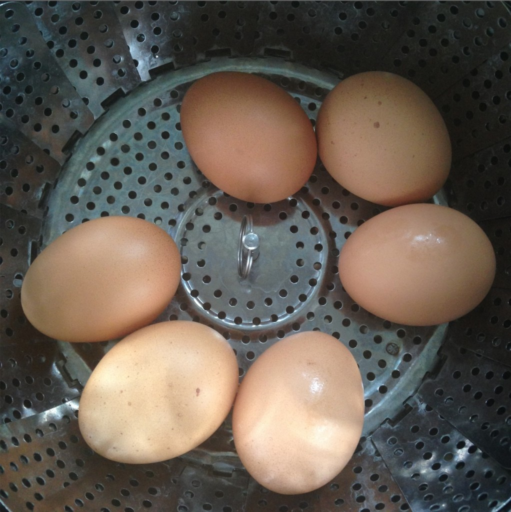 six large brown eggs in a metal colander
