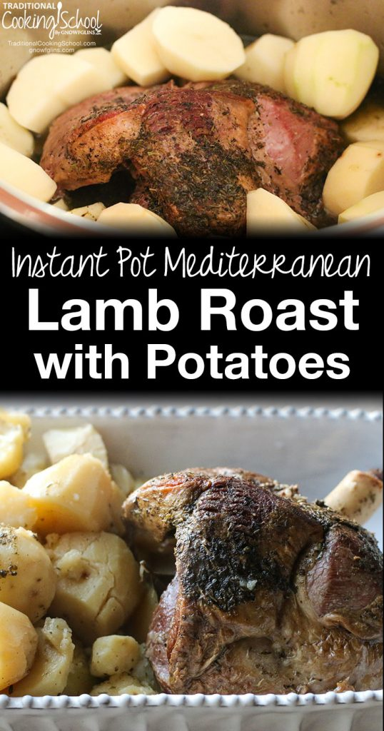photo collage of lamb roast and potatoes with text overlay