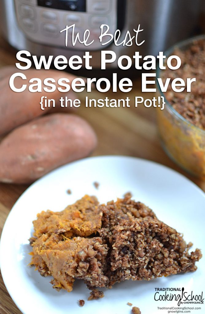 sweet potato casserole with whole sweet potatoes and instant pot in the background