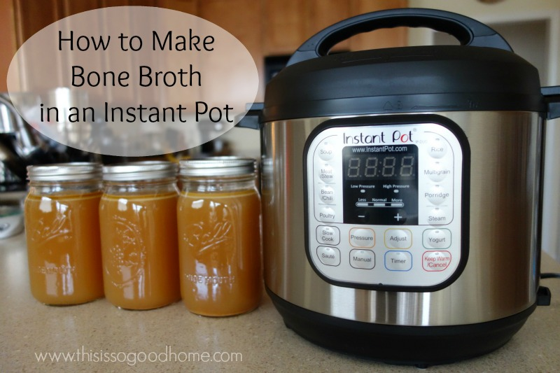 quart sized jars of golden bone broth next to an instant pot with text overlay