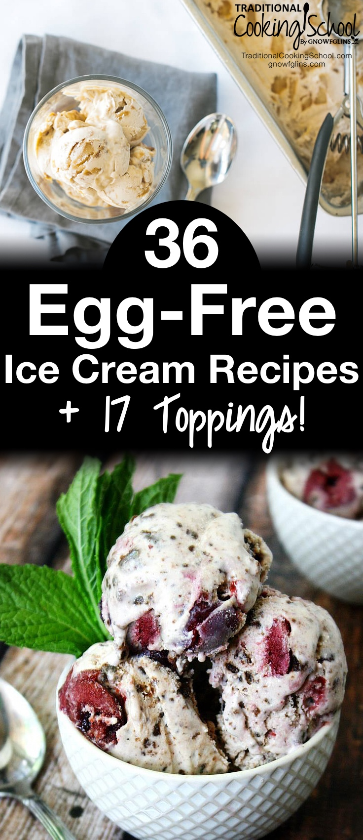 36 Egg-Free Ice Cream Recipes + 17 Toppings! | Besides some sort of milk and a sweetener, what do almost all ice cream recipes contain? Eggs. Your search for the perfect egg-free ice cream ends TODAY with this compilation of 36 delicious and nutritious egg-free ice cream recipes + 17 toppings! If spring has you dusting off your ice cream machines, get ready! Allergy-friendly ice cream has never looked (or tasted) soooooo good! | TraditionalCookingSchool.com