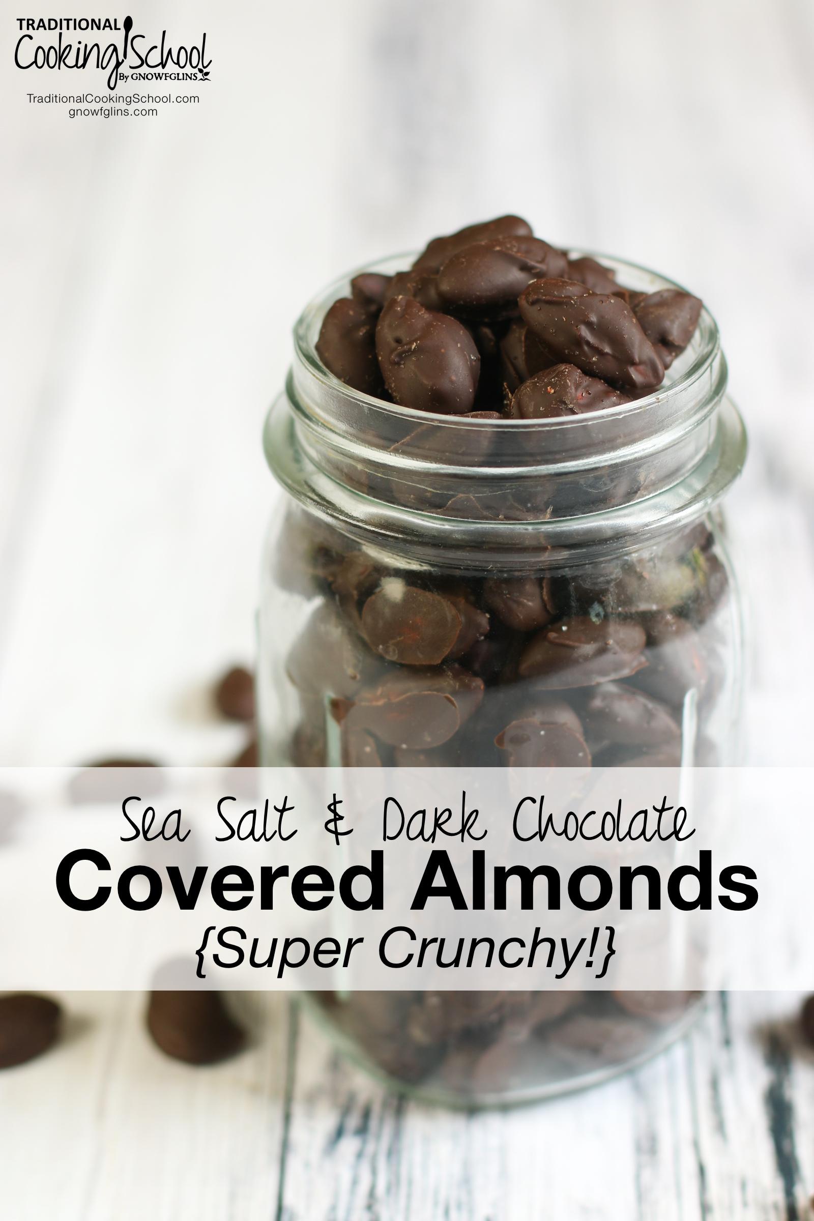 Sea Salt & Dark Chocolate Covered Almonds {Super Crunchy!} |