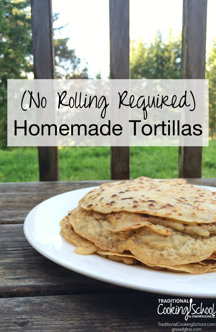 "Vertical image of a plate of tortillas with text overlay that says, ""No Rolling Required Homemade Tortillas""."