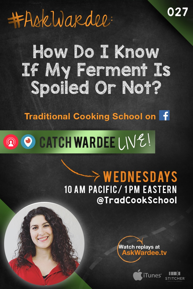 """#AskWardee 027: How Do I Know If My Ferment Is Spoiled Or Not?   """"How do I know if my ferment is spoiled or not?"""" asks Ally D. on today's #AskWardee. I'm telling you... You will know. You just will, but there's a bit more involved in how to tell if a ferment is spoiled or not.   AskWardee.tv"""