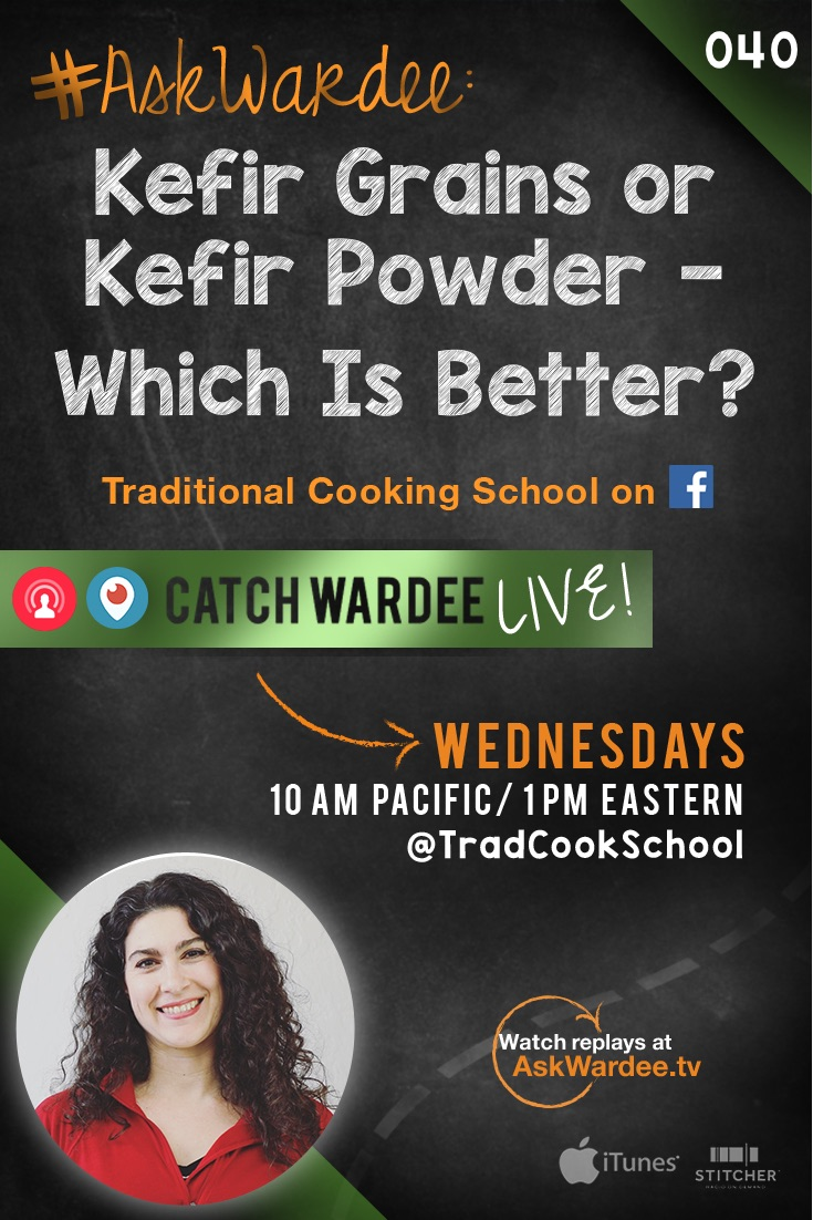 "Which is better -- kefir grains or kefir powder?"" asks Jen on today's #AskWardee. I'll talk about what dairy kefir is, then I'll share which I think is the better choice! It's a showdown! Kefir grains vs. kefir powder! 