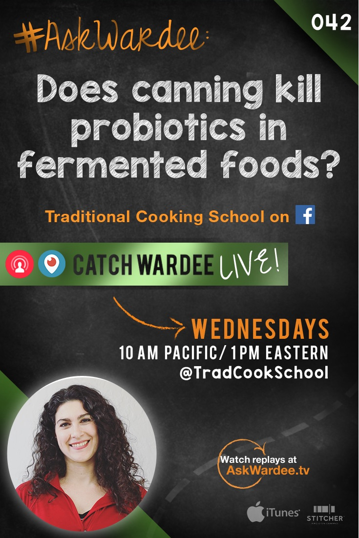 "Samantha A. asked on Twitter, ""Does canning kill probiotics in fermented foods?"" Watch, listen, or read to find out my answer, plus the best way to preserve fermented foods! 