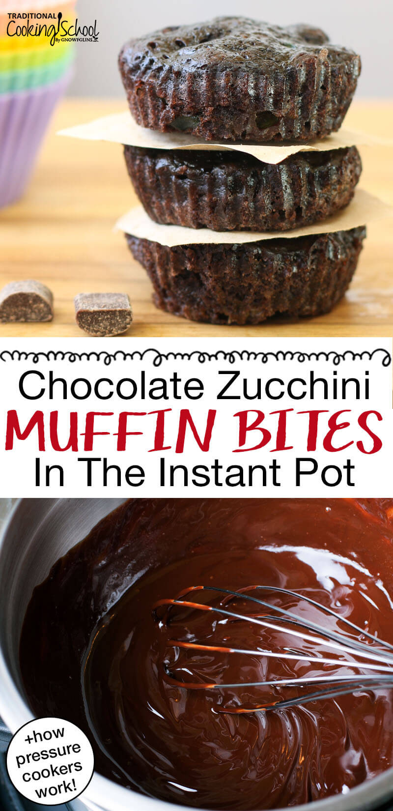 "Pinterest Pin with two images, top image is of three muffins stacked on top of each other and the other image is of a bowl filled with batter and a whisk. Text overlay says, ""Chocolate Zucchini Muffin Bites In The Instant Pot + how pressure cookers work!"""