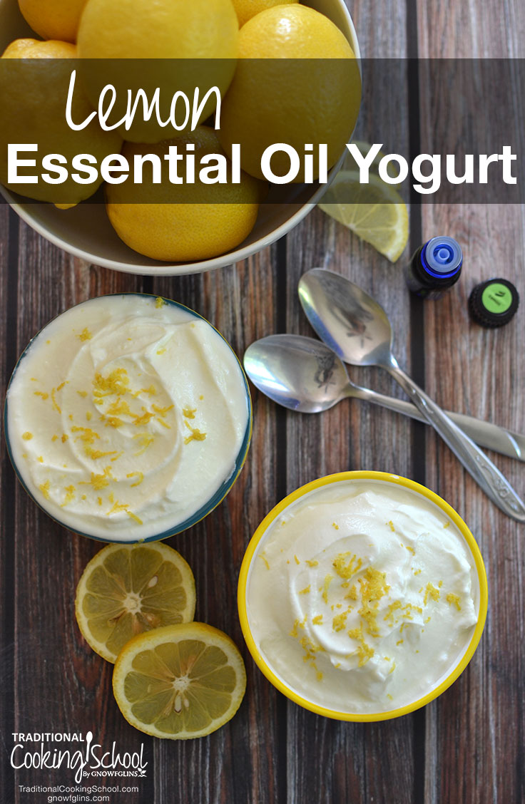 Lemon Essential Oil Yogurt | Store-bought yogurt cups are a frivolous expense -- especially the organic ones! It's so easy to have homemade flavored yogurt with a slightly sweet, bright lemon-y tang by adding just 3 ingredients. Here's how! | TraditionalCookingSchool.com