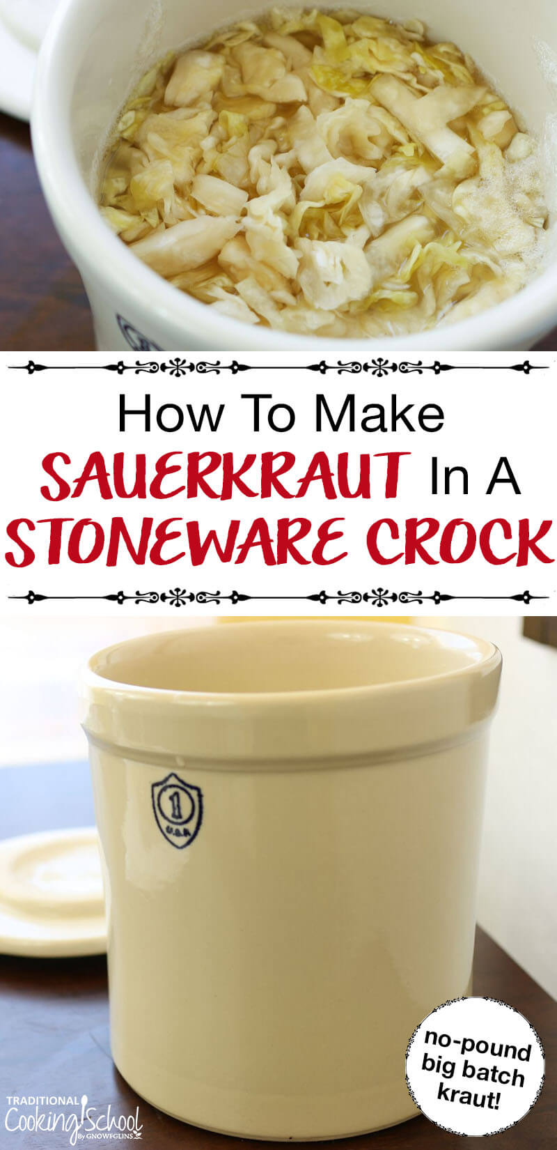 How To Make Sauerkraut In A Stoneware Crock | Homemade sauerkraut in a stoneware crock... it's super fun and beautiful and the ultimate in batch cooking! Not to mention that sauerkraut is one of the best foods for a healthy gut and digestion. | TraditionalCookingSchool.com