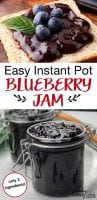 Toast with blueberry jam and a jar of blueberry jam with text overlay