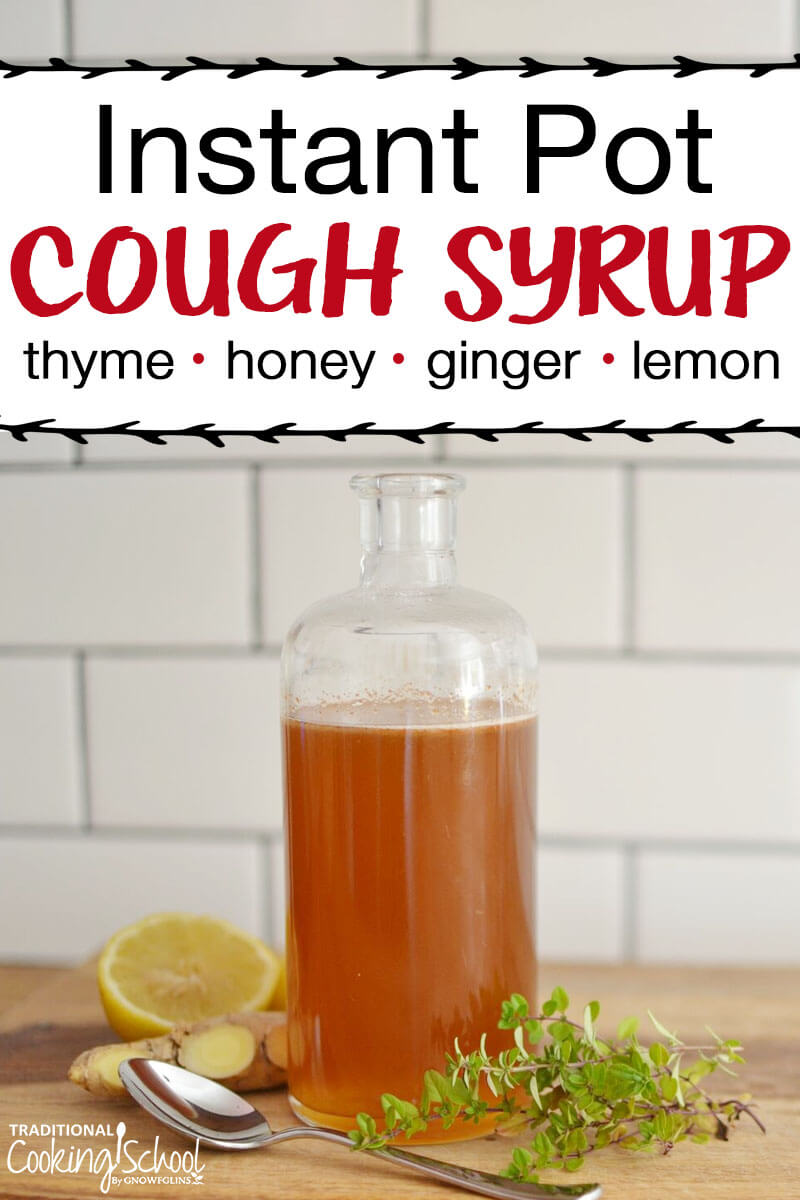 Pinterest pin for homemade cough syrup with an image of a glass bottle filled with cough syrup.