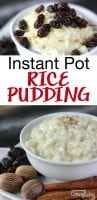 "instant pot rice pudding in a dessert cup topped with cinnamon a mint leaf and a cinnamon stick. Text overlay says, ""Instant Pot Rice Pudding"""