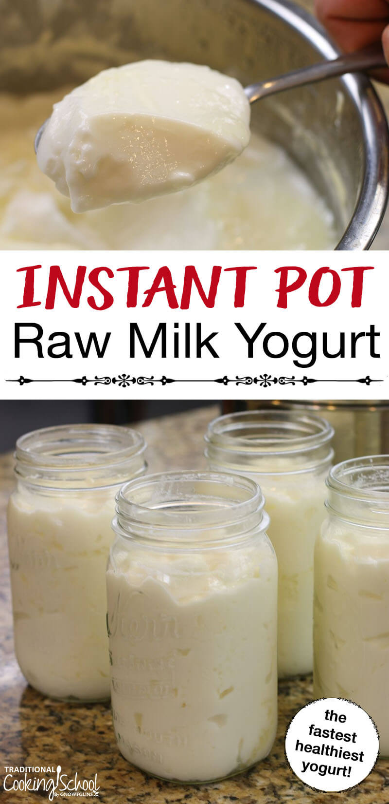 Raw Milk Yogurt {Instant Pot} | Is it possible to make thick raw milk yogurt in the Instant Pot? In other words... can you skip the pasteurizing step, retaining all the raw goodness of your milk, and still end up with thick yogurt? Find out here! | TraditionalCookingSchool.com