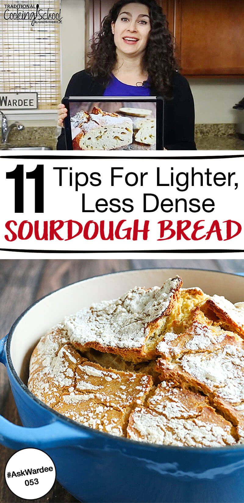 """Why, oh why, can't I just bake a loaf of lighter, less dense sourdough bread?"" This is something that every sourdough baker faces...including me. Watch, listen, or read for my 11 tips for less dense sourdough bread! 