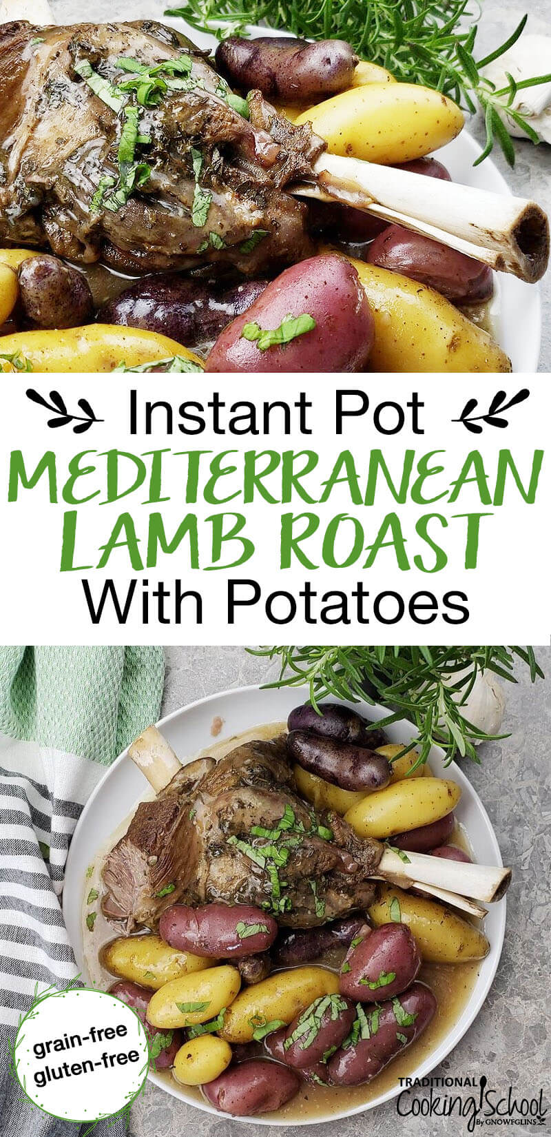 This Instant Pot lamb roast recipe is amazing because of the garlic and Mediterranean herbs. When you take your first bite... wow! And it's faster and more moist than cooking it in the oven!